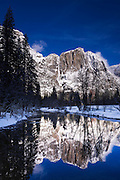 Yosemite Falls above the Merced River in winter, Yosemite National Park, California USA
