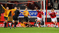 Photo: Leigh Quinnell/Sportsbeat Images.<br /> Charlton Athletic v Hull City. Coca Cola Championship. 22/12/2007. Charltons Madjid Bougherra celebrates his goal.