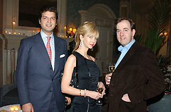 Left to right, PRINCE CASIMIR ZU SAYN-WITTGENSTEIN-SAYN, AMANDA CRONIN and MARK CORNELL at a dinner hosted by Krug champagne at Claridge's, Brooke Street, London on 14th February 2006.<br />