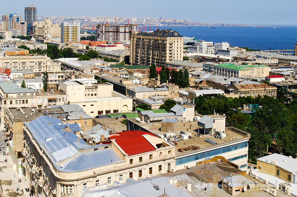 Azerbaijan, Baku. Baku city view with the harbpur and the Caspian Sea in the background.