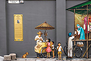 Mural on Temple Street in Chinatown, Singapore, Republic of Singapore