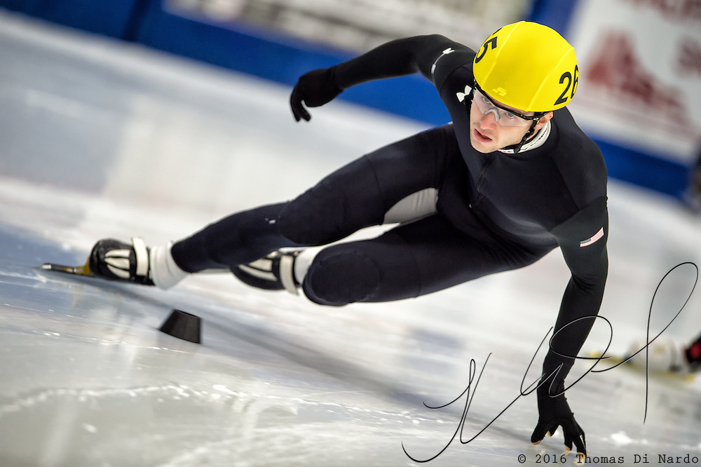 March 20, 2016 - Verona, WI - Casey Mullarkey, skater number 265 competes in US Speedskating Short Track Age Group Nationals and AmCup Final held at the Verona Ice Arena.