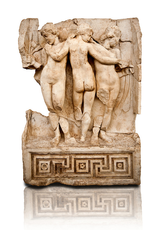 Photo of Roman releif sculpture of Tree Graces from the South Building, Second storey, Aphrodisias, Turkey, Images of Roman art bas releifs. Buy as stock or photo art prints. From The South Building, Rooms 1-3, Mythological Releifs. .<br /> <br /> If you prefer to buy from our ALAMY STOCK LIBRARY page at https://www.alamy.com/portfolio/paul-williams-funkystock/greco-roman-sculptures.html . Type -    Aphrodisias     - into LOWER SEARCH WITHIN GALLERY box - Refine search by adding a subject, place, background colour, museum etc.<br /> <br /> Visit our ROMAN WORLD PHOTO COLLECTIONS for more photos to download or buy as wall art prints https://funkystock.photoshelter.com/gallery-collection/The-Romans-Art-Artefacts-Antiquities-Historic-Sites-Pictures-Images/C0000r2uLJJo9_s0