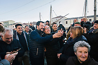 CESENATICO, ITALY - 5 JANUARY 2020: Matteo Salvini (center), former Interior Minister of Italy and leader of the far-right League party, takes a selfie with a  supporter during his campaign in Cesenatico, Italy, on January 5th 2020.<br /> <br /> Matteo Salvini is campaigning in the region of Emilia Romagna to support the League candidate Lucia Borgonzoni running for governor.<br /> <br /> After being ousted from government in September 2019, Matteo Salvini has made it a priority to campaign in all the Italian regions undergoing regional elections to demonstrate that, in power or not, he still commands considerable support.<br /> <br /> The January 26th regional elections in Emilia Romagna, traditionally the home of the Italian left, has been targeted by Matteo Salvini as a catalyst for bringing down the government. A loss for the center-left Democratic Party (PD) against Mr Salvini's right would strip the centre-left party of control of its symbolic heartland, and probably trigger a crisis in its coalition with the Five Star Movement.