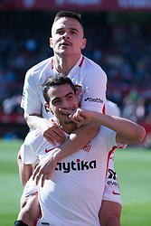 January 26, 2019 - Sevilla, Andalucia, Spain - Ben Yedder and Roque Mesa celebrate the 1st goal from Sevilla FC during the La Liga match between Sevilla FC v Levante UD at the Ramon Sanchez Pizjuan Stadium on January 26, 2019 in Sevilla, Spain (Photo by Javier Montaño/Pacific Press) (Credit Image: © Javier MontañO/Pacific Press via ZUMA Wire)
