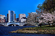 Cherry blossom trees, the Memorial Bridge, and Rosslyn, West Potomac Park, Washington, DC