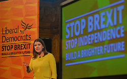 Pictured: Jo Swinson on to the stage at the rally.<br /> <br /> Liberal Democrat leader Jo Swinson held a campaign rally in central Edinburgh, where she talked about the party's opposition to independence.<br /> <br /> © Dave Johnston / EEm