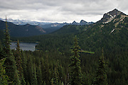 Dewey Lake and Dewey Peak in the William O Douglas Wilderness, Wenatchee National Forest south of Chinook Pass viewed from the Pacific Crest Trail.