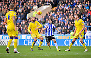 Leeds United Defender Giuseppe Bellusci and Sheffield Wednesday Forward Fernando Forestieri during the Sky Bet Championship match between Sheffield Wednesday and Leeds United at Hillsborough, Sheffield, England on 16 January 2016. Photo by Adam Rivers.