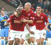 Photo: Dave Linney.<br />Walsall v Wycombe Wanderers. Coca Cola League 2. 14/10/2006.Walsall's Hector Sam(L) celebrates after making it 1-0 to Walsall.