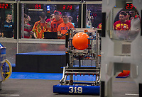 """The """"Big Bad Bob"""" team from Alton/Prospect Mountain High School competes during the qualifying round of the Governor's Cup FirstNH Robotics Competition held in the All Well North complex at PSU on Saturday.   (Karen Bobotas/for the Laconia Daily Sun)"""