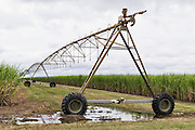 Mobile lateral move irrigation boom system in field of sugar cane in Bundaberg, Queensland, Australia. <br /> <br /> Editions:- Open Edition Print / Stock Image