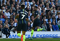 BRIGHTON, ENGLAND - MAY 12:  Riyad Mahrez (26) of Manchester City celebrates after he scores a goal to make the score 1-3during the Premier League match between Brighton & Hove Albion and Manchester City at American Express Community Stadium on May 12, 2019 in Brighton, United Kingdom. (MB Media)