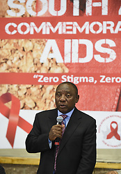 WELKOM, Dec. 1, 2014  South Africa's Deputy President Cyril Ramaphosa speaks during a national commemoration marking World Aids Day at Bronvill Stadium in Welkom, Free State Province, South Africa, on Dec. 1, 2014. Addressing the nation at the main commemoration event that was held in Welkom of Free State Province Monday, South Africa's Deputy President Cyril Ramaphosa noted that his country has scored a lot of successes in the fight against HIV/AIDS. (Xinhua/DOC/Kopano Tlape) (Credit Image: © Xinhua via ZUMA Wire)