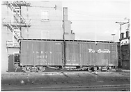 Side view of box car #3677 in Durango yards.<br /> D&RGW  Durango, CO