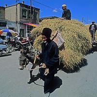 Village farmers bring hay to market at the weekly bazaar in Kashgar (Kashi), a town on the ancient Silk Road in Xinjiang, China.