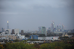 © Licensed to London News Pictures. 14/10/2018<br /> GREENWICH, UK.<br /> Cloudy gray sky view across London from Greenwich Park, Greenwich this morning as Storm Callum hits the UK.<br /> Photo credit: Grant Falvey/LNP