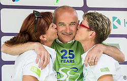 Bogdan Fink, race director kissed by Mojca Novak and Sonja Gole of Adria Mobil after the 5th Time Trial Stage of 25th Tour de Slovenie 2018 cycling race between Trebnje and Novo mesto (25,5 km), on June 17, 2018 in  Slovenia. Photo by Vid Ponikvar / Sportida