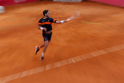 May 3, 2018 - Estoril, Portugal - Cameron Norrie of Great Britain returns a ball to Roberto Carballes Baena os Spain during the Millennium Estoril Open ATP 250 tennis tournament, at the Clube de Tenis do Estoril in Estoril, Portugal on May 3, 2018. (Credit Image: © Pedro Fiuza/NurPhoto via ZUMA Press)
