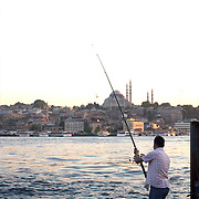 End of day near the Galata bridge at Istanbul