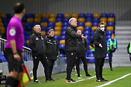 AFC Wimbledon manager Glyn Hodges with arms open during the EFL Sky Bet League 1 match between AFC Wimbledon and Lincoln City at Plough Lane, London, United Kingdom on 2 January 2021.