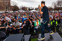 Zion I performing, 420 Cannabis Culture Music Festival, Civic Center Park, Downtown Denver, Colorado USA. This was the first 4/20 celebration since recreational pot became legal in Colorado January 1, 2014. A crowd of up to 80,000 people attended the event.