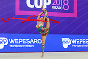 Averina Dina during final at ribbon in Pesaro World Cup at Adriatic Arena on 15 April 2018.Dina is the 2017 and 2018 World All-around Champion. She was born on August 13, 1998 in Zavolzhye, Russia. Dina has a twin sister ,Arina is also herself a great gymnast.