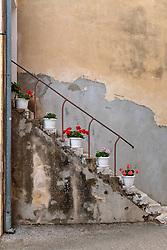 THEMENBILD - Blumentöpfe auf einer alten Steinstiege, aufgenommen am 25. Juni 2018 in Porec, Kroatien // Flowerpots on an old stone staircase, Porec, Croatia on 2018/06/25. EXPA Pictures © 2018, PhotoCredit: EXPA/ JFK