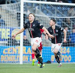 Falkirk's Peter Grant celebrates after scoring their goal. half time ; Falkirk 1 v 1 Ayr United, Scottish Championship game played 14/1/2017at The Falkirk Stadium .