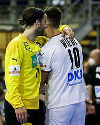 Silvio Heinevetter of Germany and Fabian Wiede of Germany during handball match between National Teams of Algeria and Germany at Day 3 of IHF Men's Tokyo Olympic  Qualification tournament, on March 14, 2021 in Max-Schmeling-Halle, Berlin, Germany. Photo by Vid Ponikvar / Sportida