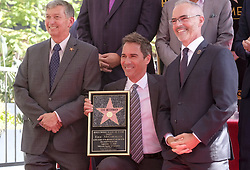 September 13, 2018 - Los Angeles, California, U.S - Hollywood Chamber of Commerce, President/CEO Leron Gubler, left, LA Councilmember Mitch O'Farrell, right attend Eric McCormack's star ceremony on the Hollywood Walk of Fame Star where she was the recipient of the 2,644th star on the Hollywood Walk of Fame in the category of Television on September 13, 2018 in Los Angeles. (Credit Image: © Ringo Chiu/ZUMA Wire)