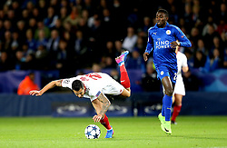 Vitolo of Sevilla is fouled by Wilfred Ndidi of Leicester City - Mandatory by-line: Robbie Stephenson/JMP - 14/03/2017 - FOOTBALL - King Power Stadium - Leicester, England - Leicester City v Sevilla - UEFA Champions League round of 16, second leg