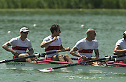 13/07/03/03 .2003 FISA Rowing World Cup - Lucerne.- Switzerland.Finals day CAN M4-.Bow Cameron Baerg, Thomas Herschmiller,.Jake Wetzel and Barney Williams [Mandatory Credit: Peter Spurrier:intersport Images]