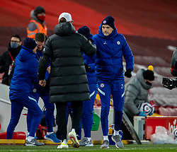 LIVERPOOL, ENGLAND - Thursday, March 4, 2021: Chelsea's manager Thomas Tuchel (R) with Liverpool's manager Jürgen Klopp at the final whistle during the FA Premier League match between Liverpool FC and Chelsea FC at Anfield. Chelsea won 1-0 condeming Liverpool to their fifth home defeat on the run.(Pic by David Rawcliffe/Propaganda)