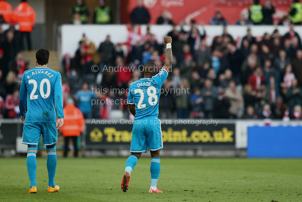Jermain Defoe of Sunderland celebrates scoring his side's first goal.<br /> Barclays Premier League match, Swansea City v Sunderland at the Liberty stadium in Swansea, South Wales on Saturday 7th Feb 2015.<br /> pic by Mark Hawkins, Andrew Orchard sports photography.