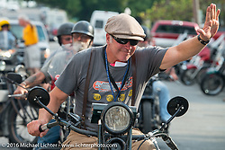 Dean Bordigioni (Dino) riding his 1923 Harley-Davidson JS arrives at check-in at the finish before the hosted Dinner stop on Spanish Street in Cape Girardeau, Missouri during Stage 5 of the Motorcycle Cannonball Cross-Country Endurance Run, which on this day ran from Clarksville, TN to Cape Girardeau, MO., USA. Tuesday, September 9, 2014.  Photography ©2014 Michael Lichter.
