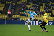 Burton Albion midfielder Lee Williamson (7) and Watford striker Odion Ighalo (24) during the The FA Cup 3rd round match between Watford and Burton Albion at Vicarage Road, Watford, England on 7 January 2017. Photo by Richard Holmes.