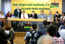 O ex-prefeito José Fogaça durante reunião no diretório municipal do PMDB para declarar apoio a candidatura de José Fortunati à prefeitura de Porto Alegre. FOTO: Jefferson Bernardes/Preview.com