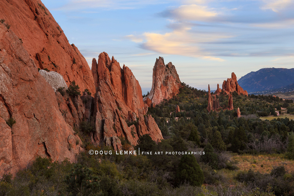 Sunset over the strange rock forms at Garden of the Gods Park, Colorado Springs, Colorado, USA