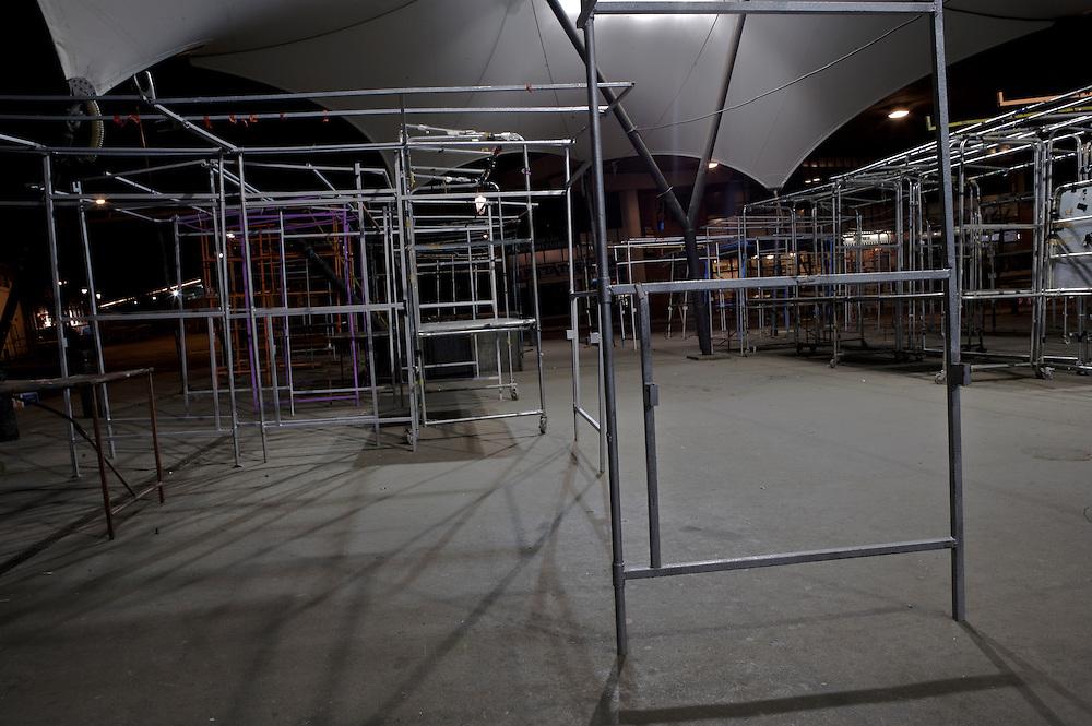 Empty market stalls at night