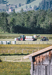 THEMENBILD - ein Landwirt verladet Heuballen auf einen Anhänger, aufgenommen am 27. Mai 2020 in Kaprun, Oesterreich // a farmer loads hay bales onto a trailer, in Kaprun, Austria on 2020/05/27. EXPA Pictures © 2020, PhotoCredit: EXPA/Stefanie Oberhauser