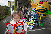 NO FEE PICTURES<br /> 26/3/16 Children nationwide will soon have the opportunity to meet their favourite Irish authors in a new and unique setting. Announced today, the partnership between children's publisher Little Island Books and BUMBLEance, The Children's National Ambulance Service will see children's authors visiting schools, festivals and libraries on board BUMBLEance to read from their work and to meet with children across primary and secondary schools nationwide. <br /> Kate Halon aged 4 and Zara Hanlon age 2 sisters from Artane Dublin 5<br /> Megan Barrett age 6 (front of pic) from Croom Co.Limerick <br /> Ben Kelly aged 8 & Zach Kelly age 5 from Rathfarnham <br /> Authors Christine Hamill, Siobhan Parkinson and PJ Lynch  Pictures: Arthur Carron
