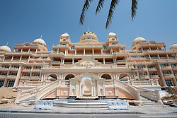 Exterior of new luxury hotel  Kempinski Emerald Palace under construction on the Palm Jumeirah Island in Dubai, UAE, United Arab Emirates.