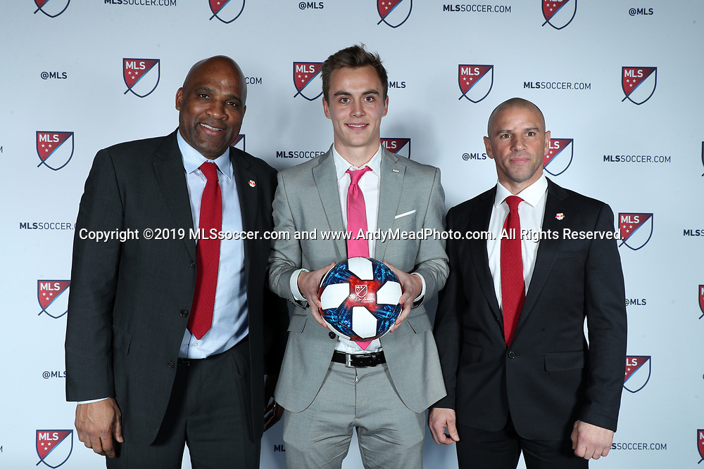 CHICAGO, IL - JANUARY 11: Janos Loebe was taken with the 22nd overall pick by New York Red Bulls. With sporting director Denis Hamlett (left) and head coach Chris Armas (right). The MLS SuperDraft 2019 presented by adidas was held on January 11, 2019 at McCormick Place in Chicago, IL.