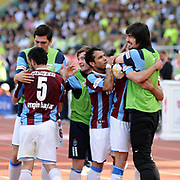 Trabzonspor's Engin BAYTAR (L) celebrate his goal with team mate during their Turkey Cup final match Trabzonspor between Fenerbahce at the GAP Arena Stadium at Urfa Turkey on wednesday, 05 May 2010. Photo by TURKPIX