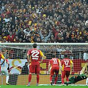 Galatasaray's goalkeeper Nestor Fernando MUSLERA (B) during their Turkish Superleague soccer match Galatasaray between Mersin Idman Yurdu at the Turk Telekom Arena at Aslantepe in Istanbul Turkey on Saturday 05 November 2011. Photo by TURKPIX