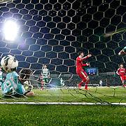 Bursaspor's Ferhat Kiraz scores during their Turkish soccer super league match Bursaspor between Besiktas at Ataturk Stadium in Bursa Turkey on Monday, 08 April 2013. Photo by Aykut AKICI/TURKPIX