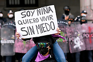 TOLUCA, MEXICO - MARCH 8: А woman joins a protest against gender-based violence in the context of International Women's Day. Hundreds of women take part in demonstrations worldwide to demand justice for victims of femicide and stop violence against women during the commemoration of International Women's Day .  on March 8, 2021 in Toluca, Mexico