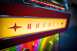 "© Licensed to London News Pictures. 27/11/2016. Leeds UK. Picture shows the Rocket jukebox, the only vinyl playing jukebox being produced in the world. A resurgence in the popularity of Vinyl has prompted Leeds based Jukebox manufacturer Sound Leisure to build a new Vinyl playing Jukebox called the Rocket making them the only company in the world building a jukebox that play's vinyl record's. The first of the new Jukeboxes have started to roll of the production line in Yorkshire at a cost of £8,000 & can play 140 songs. The Rocket hold's 70 7"" record's on a rotating mechanism, has a D4 amplifier with a 60W output & a remote control. Demand for the Rocket is high with order's from across the globe. Photo credit: Andrew McCaren/LNP"