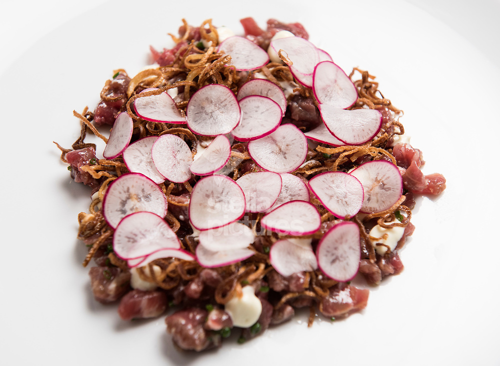 Raw beef, wasabi mayonnaise, ginger and shallots at Ham as part of Evening Standard restaurant review.<br /> Picture by Daniel Hambury/@stellapicsltd 07813022858<br /> 10/03/2018